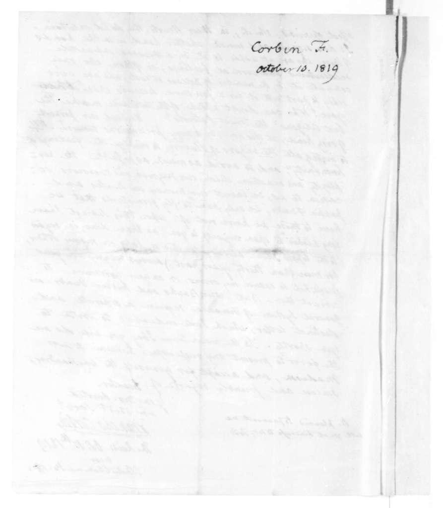 Francis Corbin to James Madison, October 10, 1819.