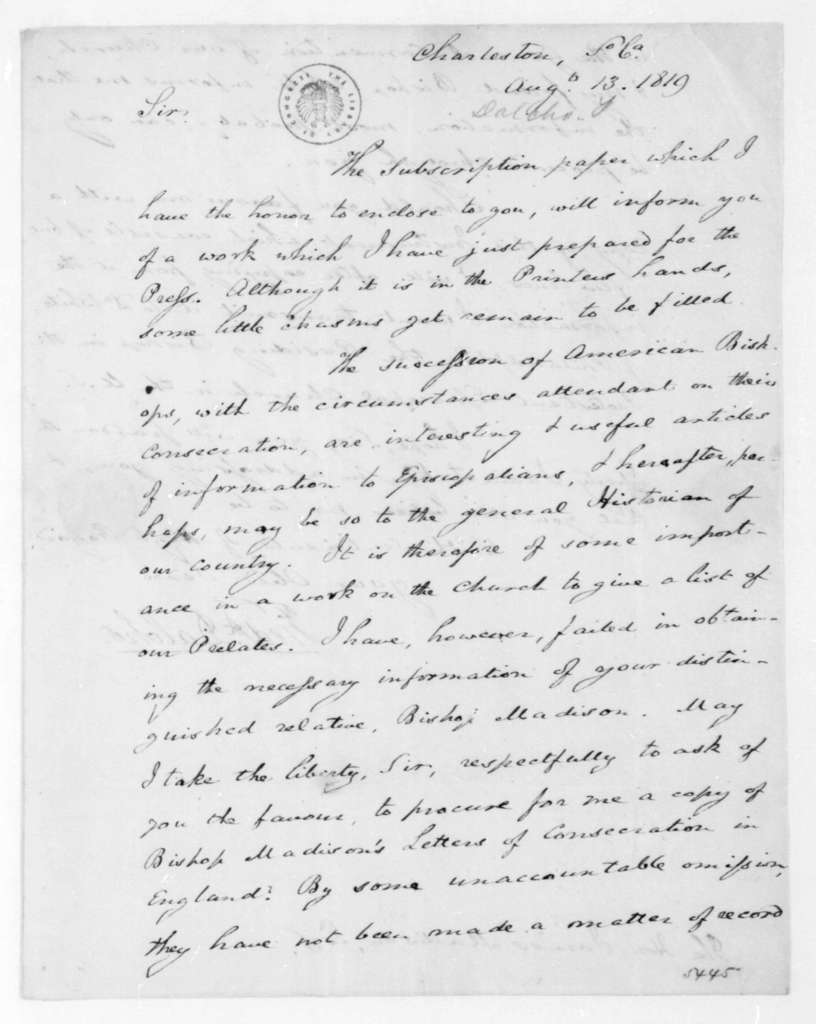 Frederick Dalcho to James Madison, August 13, 1819.
