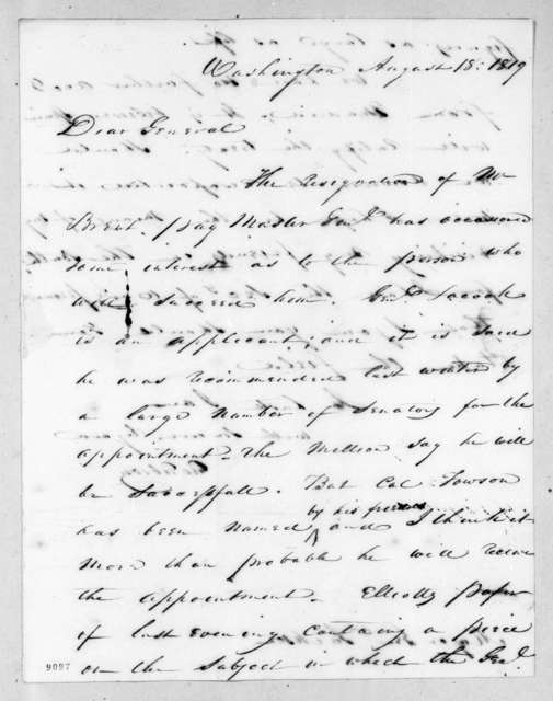 George Gibson to Andrew Jackson, August 18, 1819