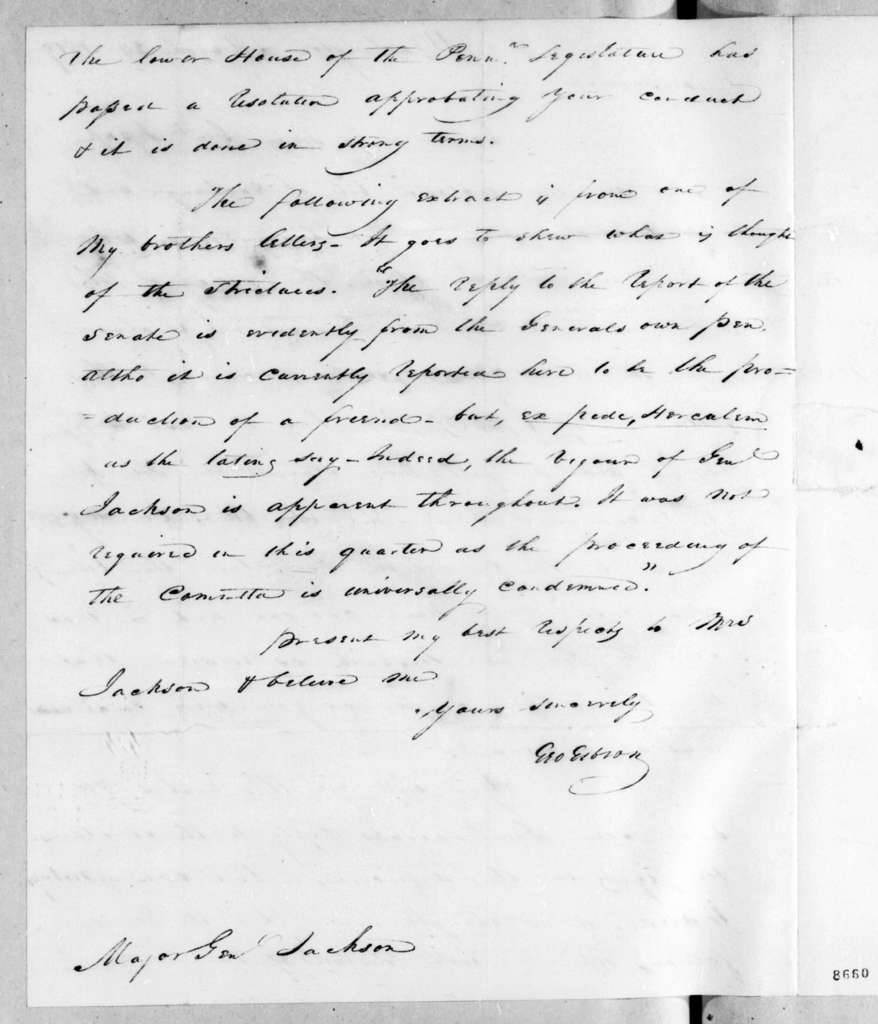 George Gibson to Andrew Jackson, March 24, 1819