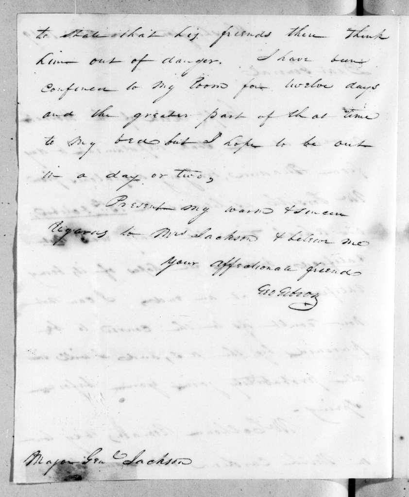 George Gibson to Andrew Jackson, November 25, 1819