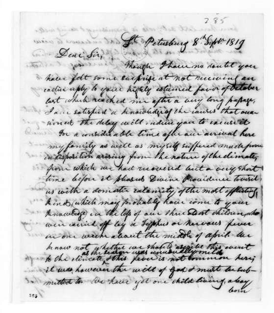 George Washington Campbell to Andrew Jackson, September 8, 1819