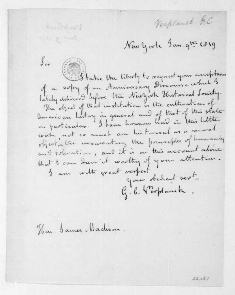 Gulian Crommelin Verplanck to James Madison, January 9, 1819.