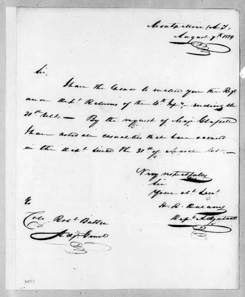 H. R. Dulany to Robert Butler, August 7, 1819