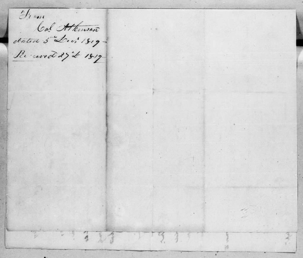 Henry Atkinson to Andrew Jackson, December 5, 1819