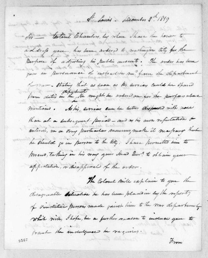 Henry Atkinson to Andrew Jackson, December 8, 1819