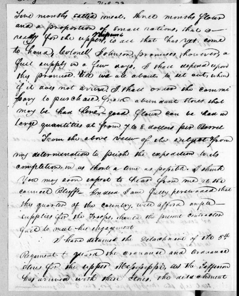 Henry Atkinson to Andrew Jackson, June 19, 1819