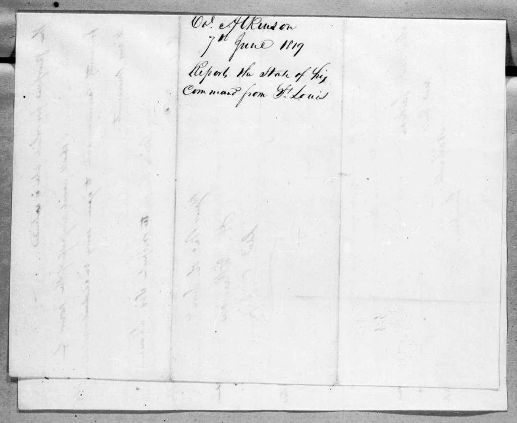 Henry Atkinson to Andrew Jackson, June 7, 1819