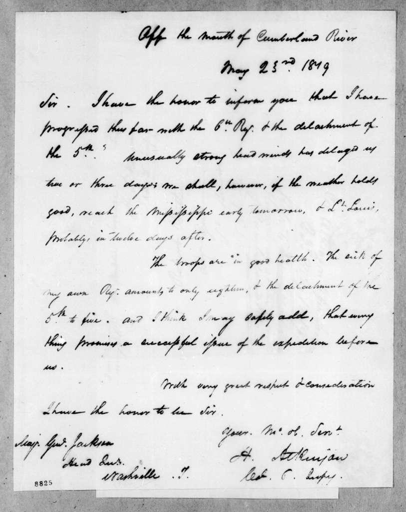 Henry Atkinson to Andrew Jackson, May 23, 1819