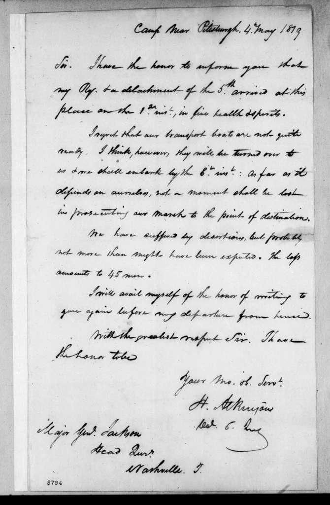Henry Atkinson to Andrew Jackson, May 4, 1819