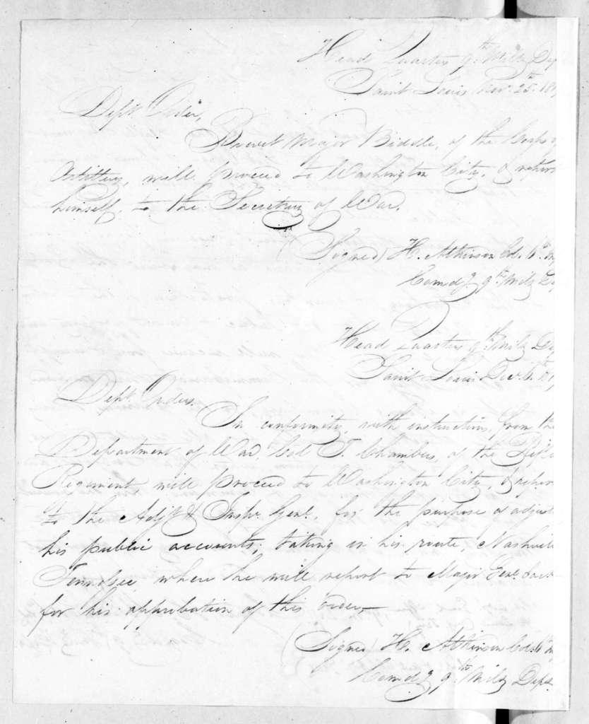 Henry Atkinson to [Robert Butler], December 10, 1819