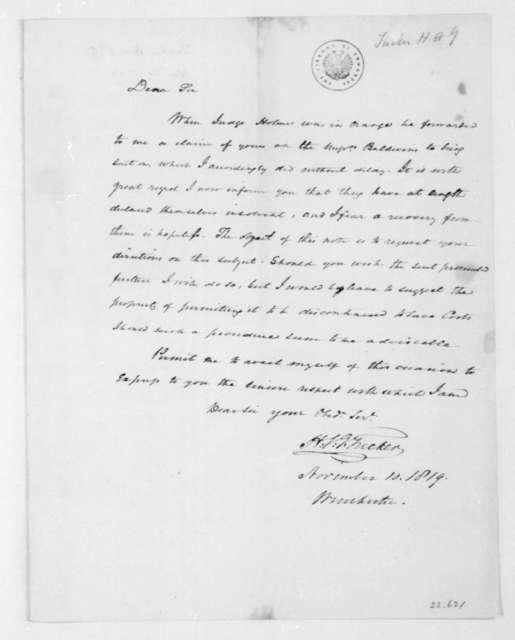 Henry St. George Tucker to James Madison, November 10, 1819.