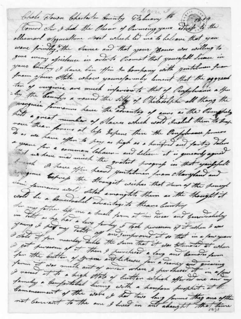 Isaac Davis to James Madison, February 16, 1819.