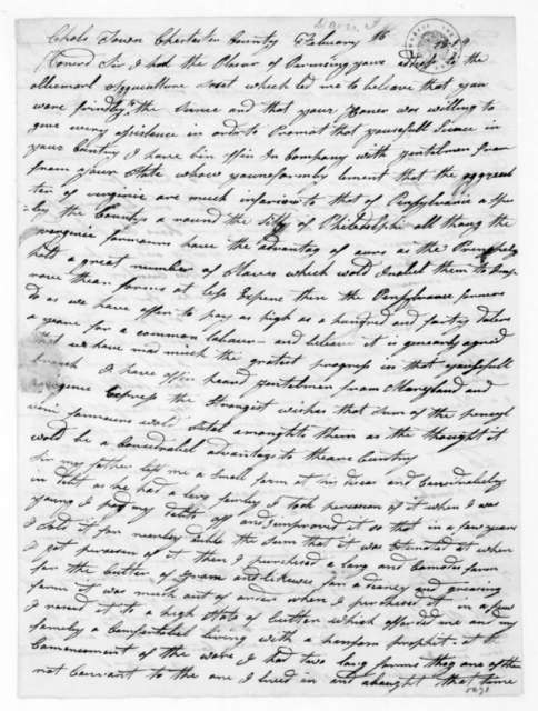 Isaac Davis to James Madison, February 16, 1819.