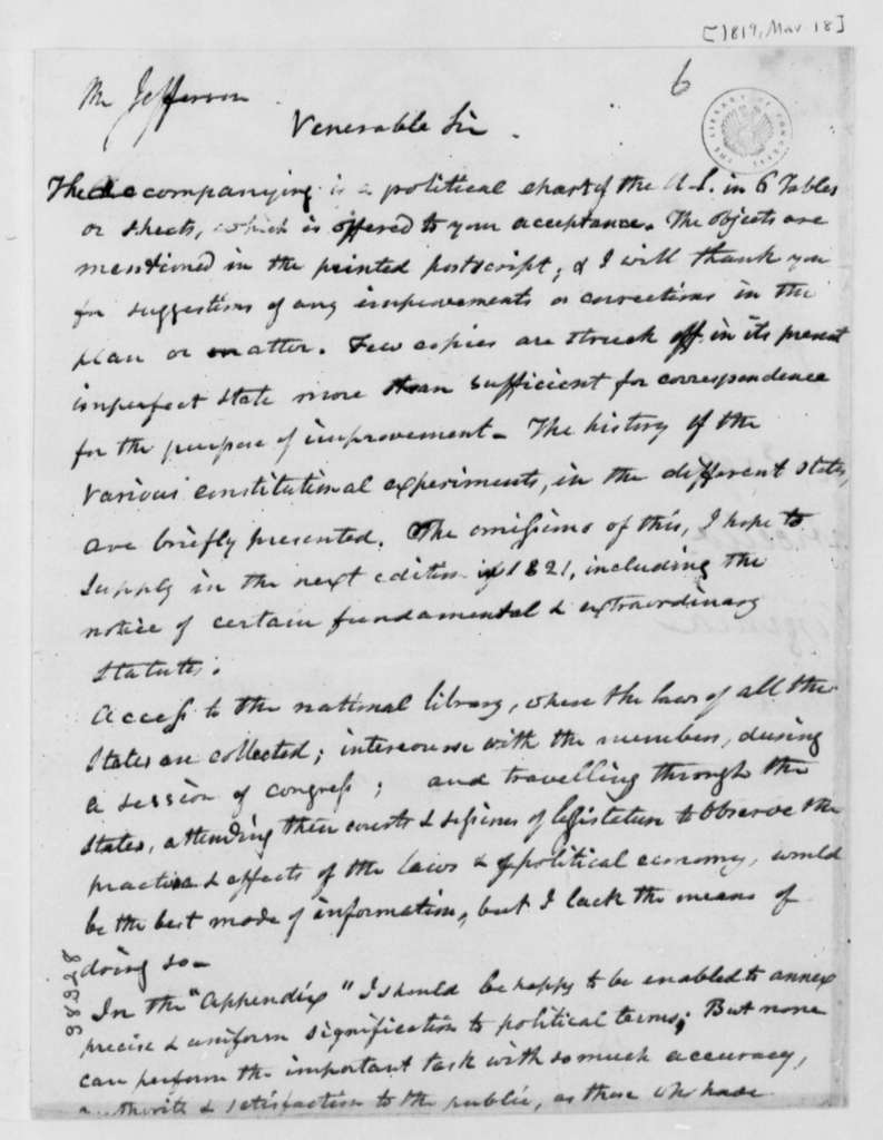 Isaac H. Tiffany to Thomas Jefferson, March 18, 1819