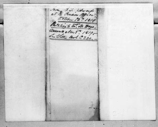J. L. Edwards to Robert Butler, October 12, 1819