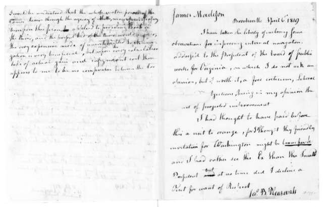 James B. Pleasants to James Madison, April 6, 1819. Includes letter from James P. Preston to James B. Pleasants, April 6, 1819.