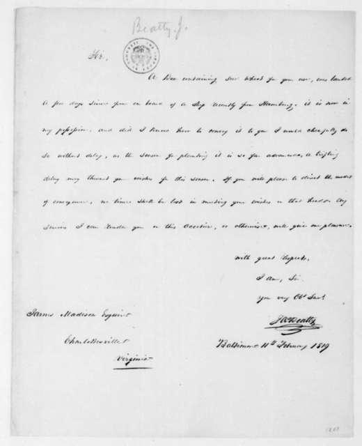 James Beatty to James Madison, February 11, 1819.