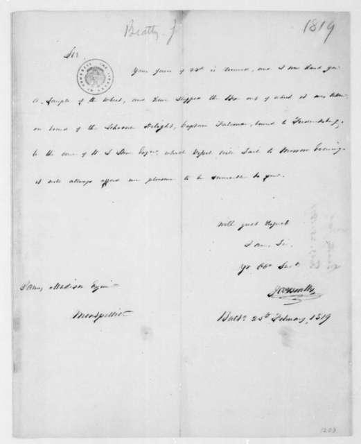 James Beatty to James Madison, February 25, 1819.