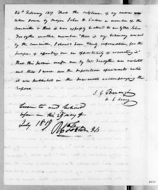 James Craine Bronaugh to Andrew Jackson, July 29, 1819