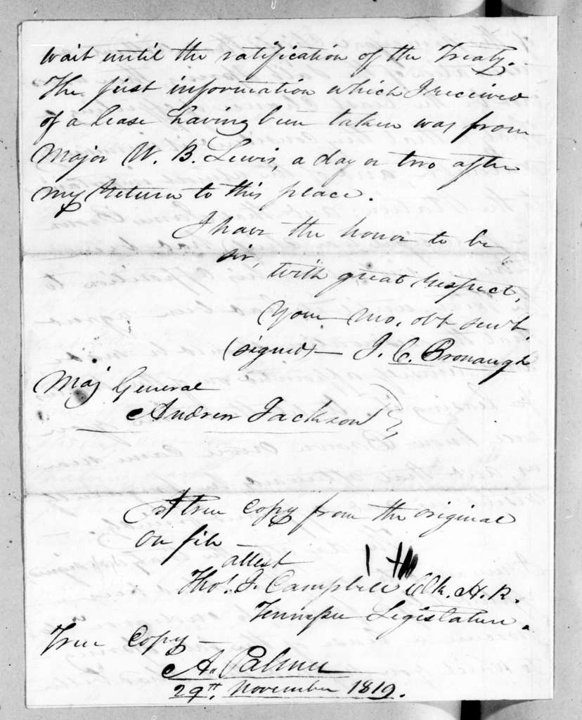 James Craine Bronaugh to Andrew Jackson, November 29, 1819