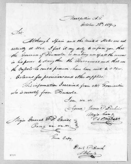 James Edward Dinkins to Edmund Pendleton Gaines, October 22, 1819