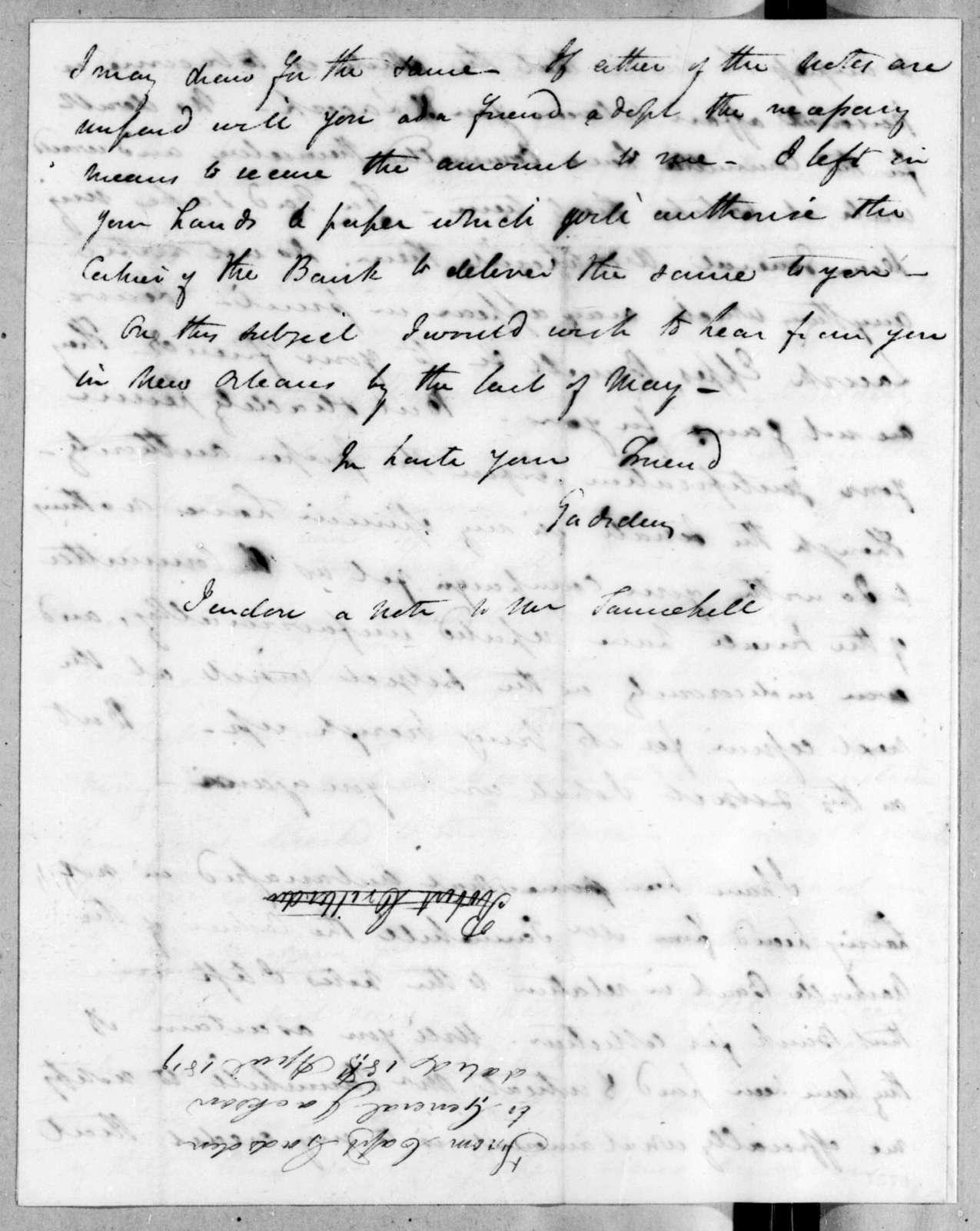 James Gadsden to Andrew Jackson, April 18, 1819