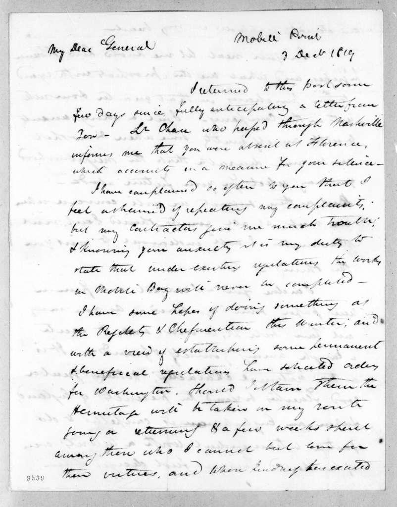 James Gadsden to Andrew Jackson, December 3, 1819