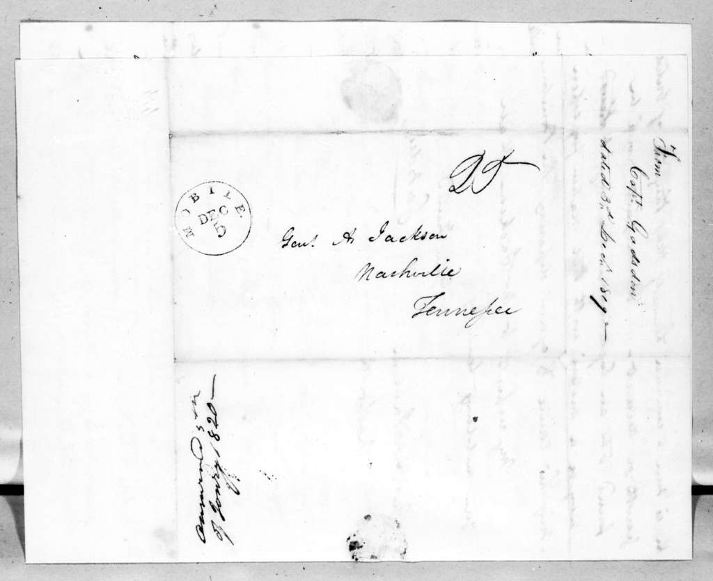 James Gadsden to Andrew Jackson, December 3, 1819