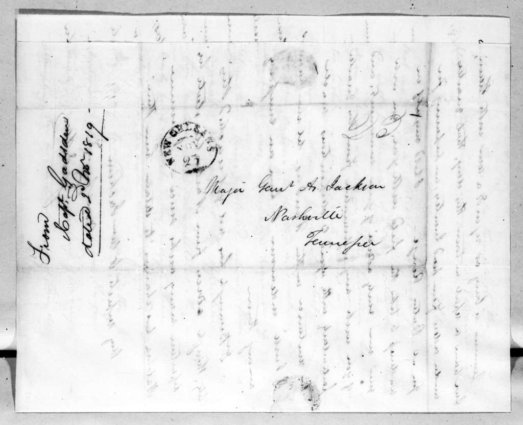James Gadsden to Andrew Jackson, November 21, 1819