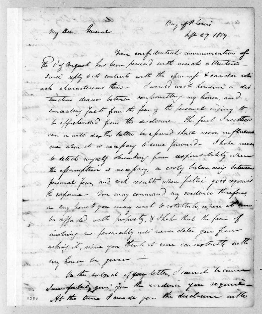 James Gadsden to Andrew Jackson, September 27, 1819