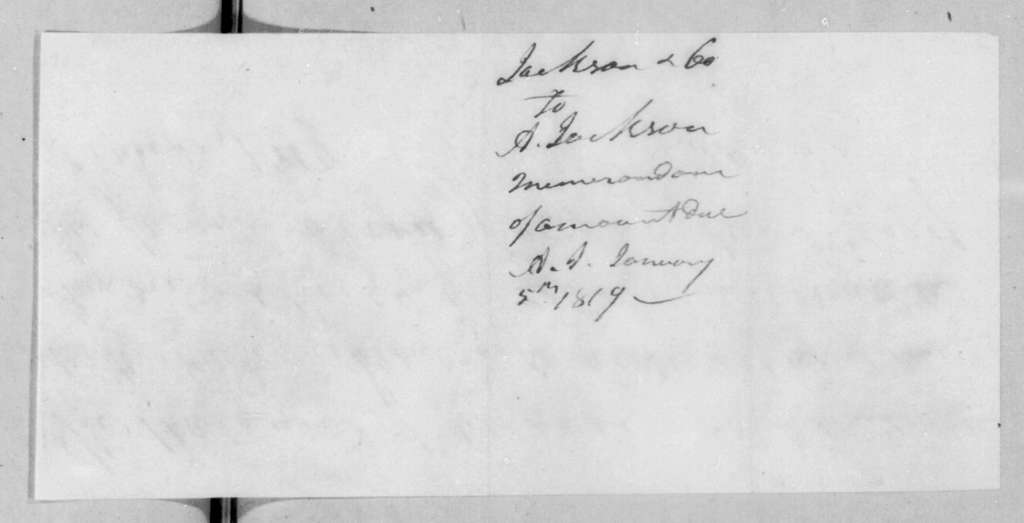 James Jackson and Co. to Andrew Jackson, January 5, 1819