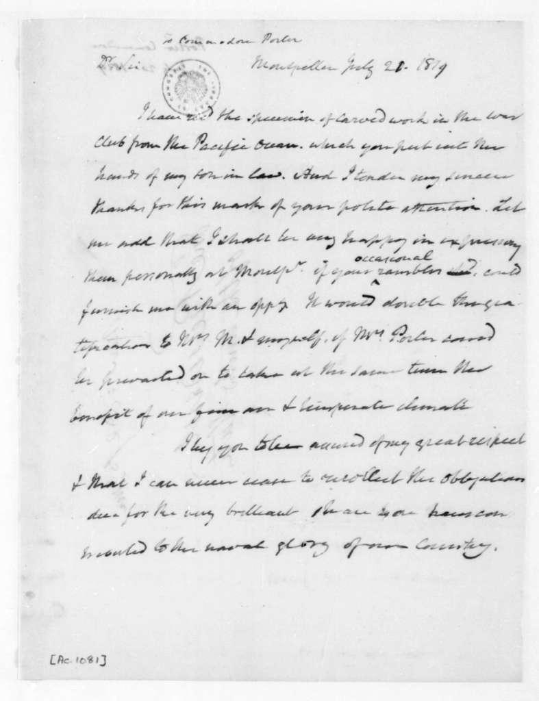 James Madison to Commodore David Porter, July 20, 1819.