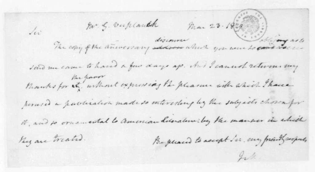 James Madison to Gulian Crommelin Verplanck, March 23, 1819.