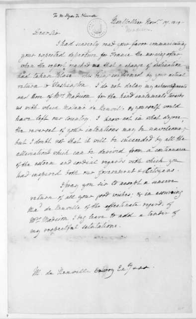 James Madison to Hyde de Neuville, November 17, 1819.