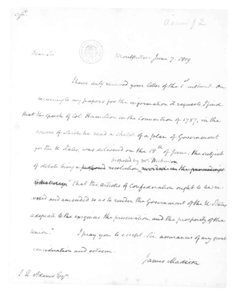 James Madison to John Quincy Adams, June 7, 1819.
