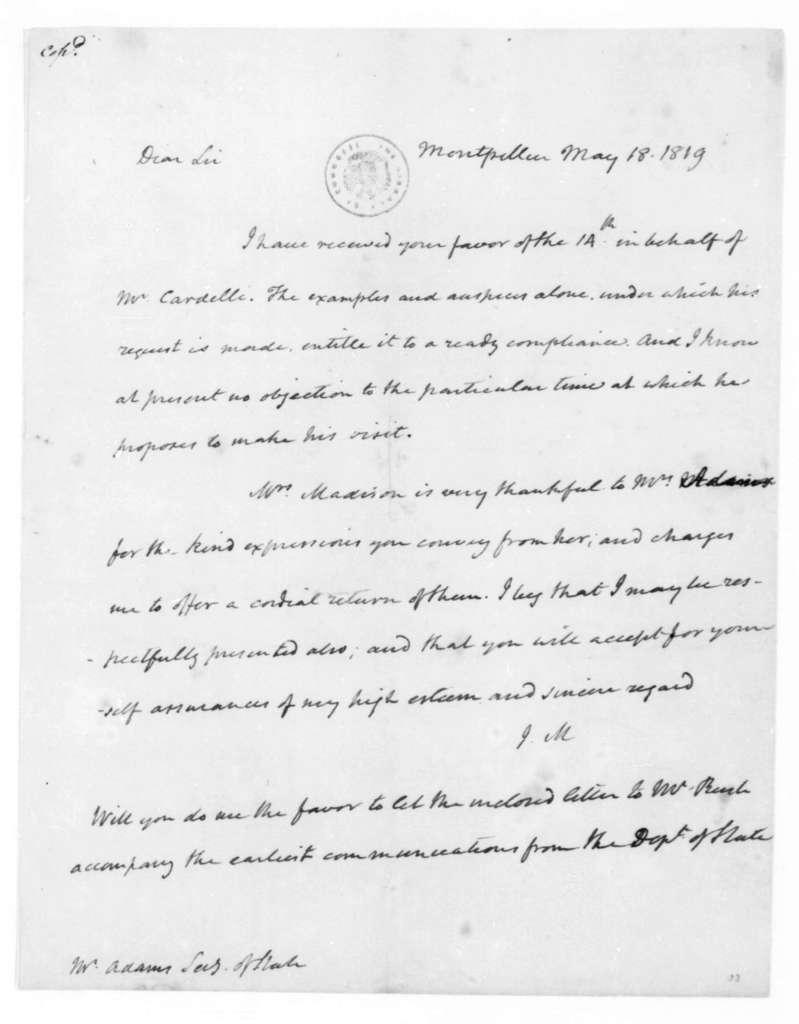 James Madison to John Quincy Adams, May 18, 1819.