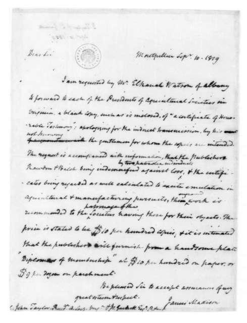 James Madison to John Taylor, September 10, 1819. Also addressed to James Garnett.