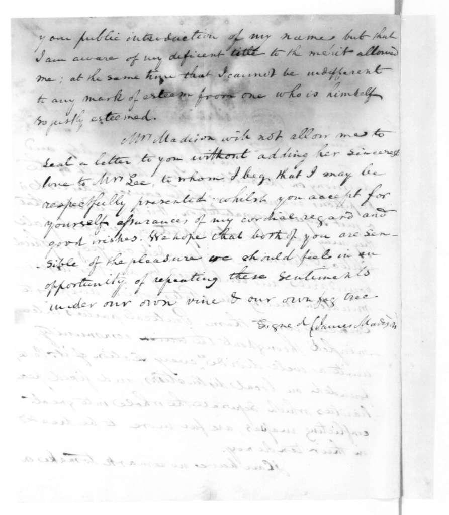 James Madison to Richard Brand Lee, August 5, 1819.