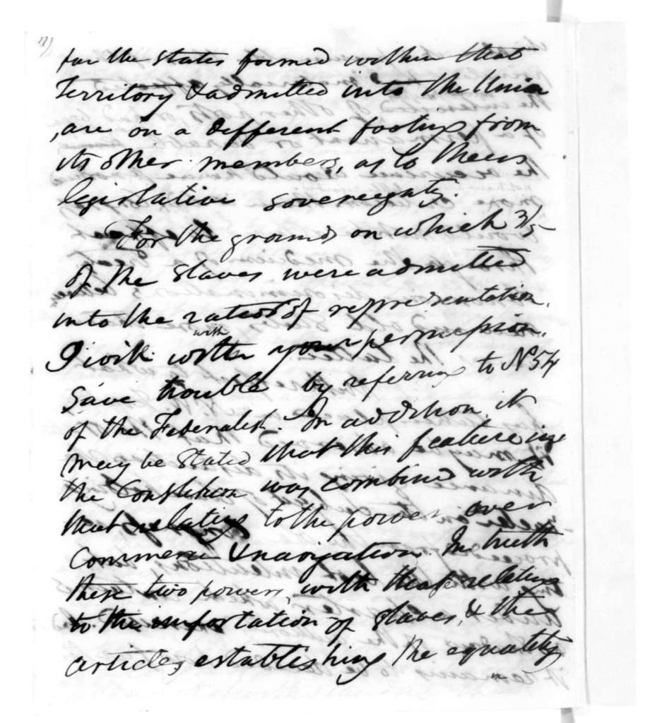 James Madison to Robert Walsh, November 27, 1819. Missouri Controversy.