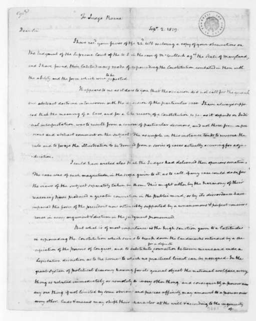 James Madison to Spencer Roane, September 2, 1819.
