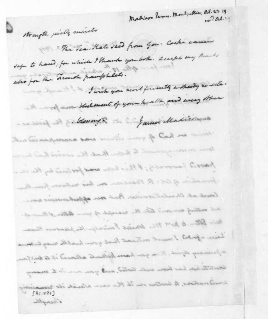James Madison to Thomas Jefferson, October 23, 1819.