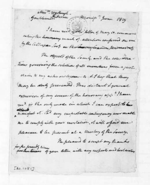 James Madison to Worthington, June, 1819. Also addressed to J. Anderson.