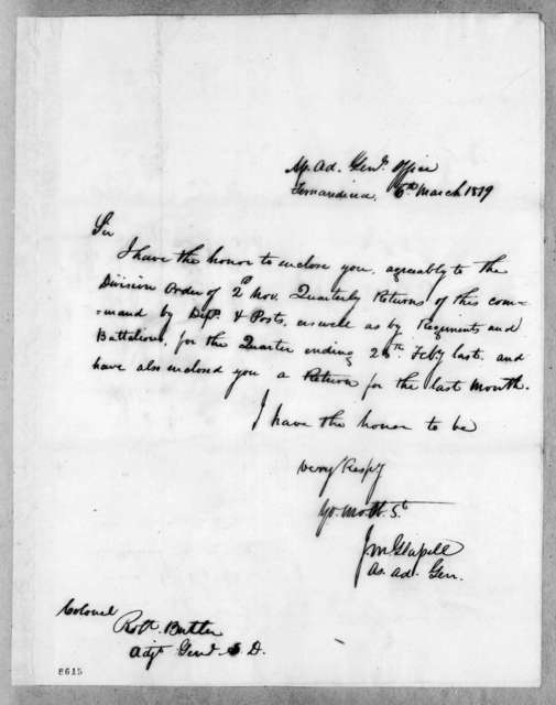 James McMillan Glassell to Robert Butler, March 6, 1819