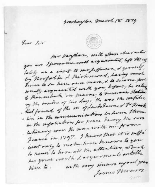 James Monroe to James Madison, March 18, 1819.
