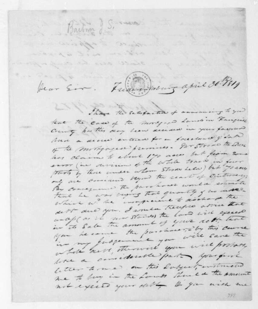James S. Barbour to James Madison, April 30, 1819.