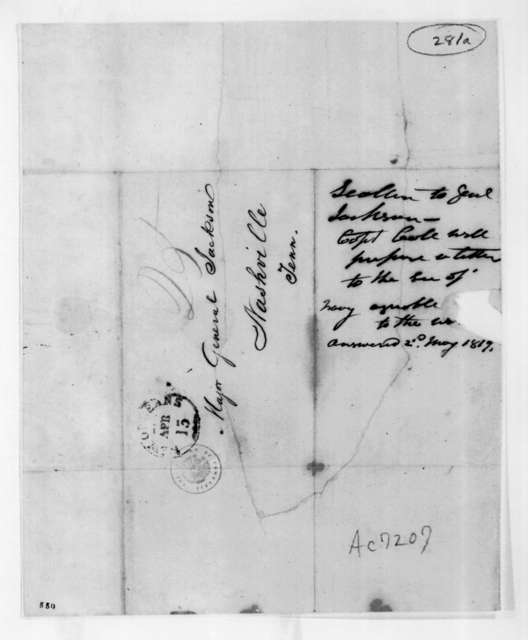 [James] Scallon to Andrew Jackson, April 9, 1819