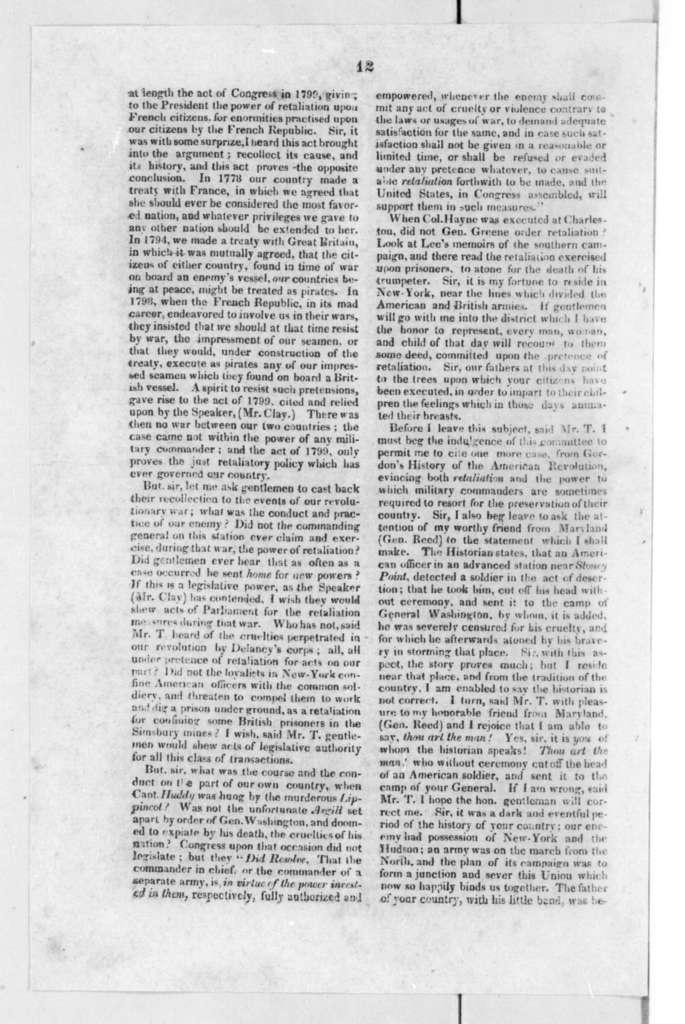 James Tallmadge, January 22, 1819