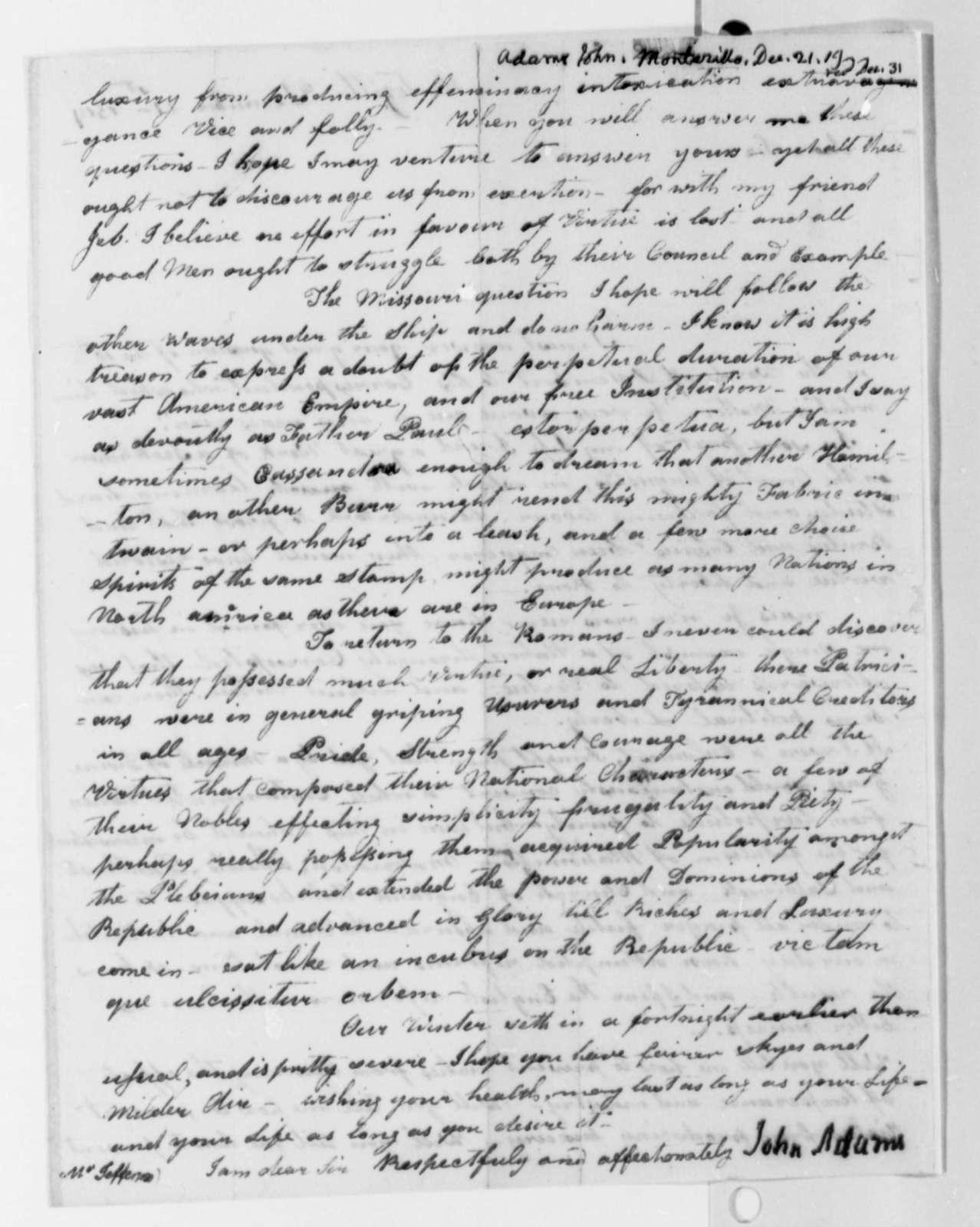 John Adams to Thomas Jefferson, December 21, 1819