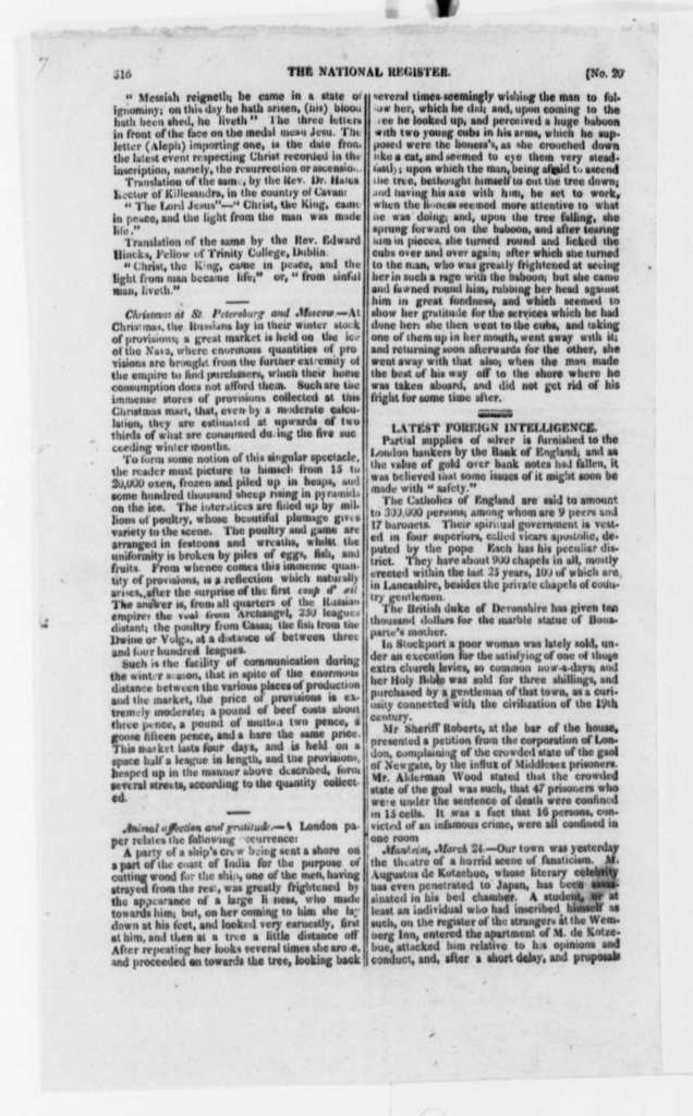 John Adams to Thomas Jefferson, July 28, 1819, with Printed Pages from National Register